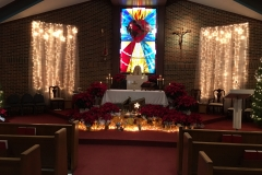 Several members of little portion fraternity assist in decorating Saint Brigid church for solemnities and provide flower arrangements for Weekends.